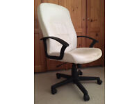 White office chair adjustable with arms and wheels - £12