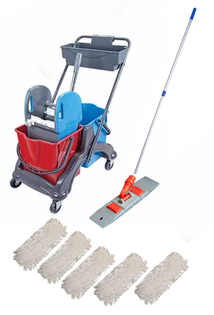 Reinigungswagen mit Ablagekorb, Wischbezüge , Alustiel , Klapphalter 50 cm