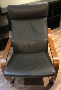 IKEA Poang Chair with real leather seat cushions - like new!