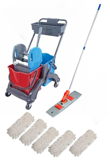Reinigungswagen mit Ablage, Wischbezüge , Alustiel , Klapphalter 50 cm