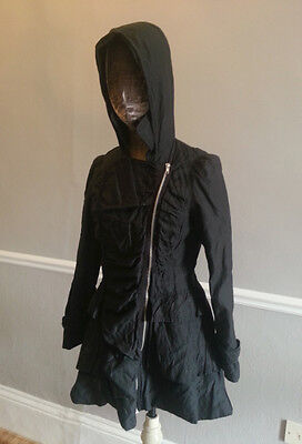 Womens crumpled look zipped fashion jacket coat with hood and bow detail size 10 for sale  Shipping to Nigeria