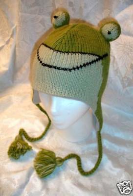 FROG HAT knit ADULT animal ski cap costume LINED mens womens unisex beanie toque - Toad Costume Hat
