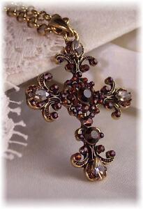 Topaz-Amethyst-Antique-Gold-Filigree-Victorian-Rhinestone-Crystal-Cross-Necklace