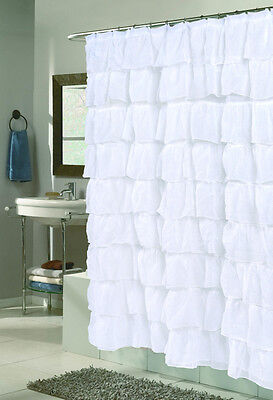 Carmen Ruffled Fabric Shower Curtains - Assorted Colors & Styles