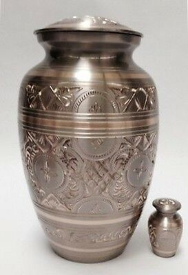 Adult platinum & gold funeral cremation urn, urns with free keepsake