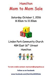 Hamilton Mom to Mom Sale, Sat. Oct 1st, 8:30am to 11:30am