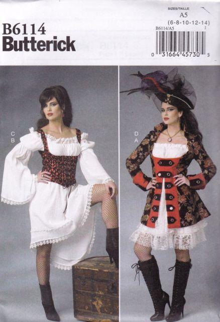 Butterick SEWING PATTERN B6114 Pirate Steam Punk Bar Maid Costume Pattern 6-14