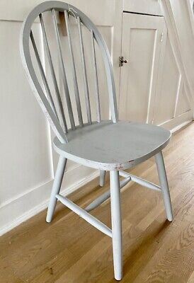 Vintage Old painted Wooden Retro Chair distressed grey chippy paint shabby chic