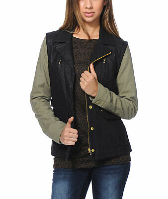 Obey Womens Hearst Faux Leather Jacket Black Army Green S New