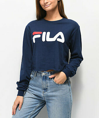 FILA Womens Navy Cropped Crop Top Long Sleeve Shirt New XS, S, M, L