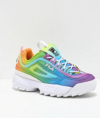 Brand New Women's FILA Disruptor II Tie Dye Athletic Training Shoes   Rainbow