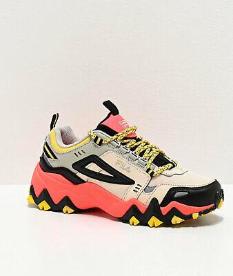 Womens FILA Oakmont Trail Coral Black Yellow Shoes NEW