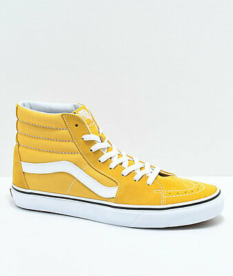 Mens Brand New in box Vans Sk8-Hi Ochre & White Skate Shoes yellow gold high top ()