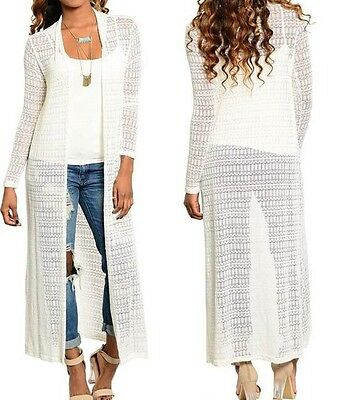 (Creamy Ivory Soft Lightweight Sweater Knit Open Front Maxi Cardigan/Cover-Up)