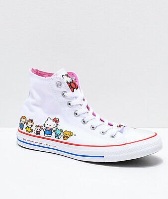 Official Converse / Hello Kitty - High Top Chuck Taylor White Shoes UK 9 BNIB