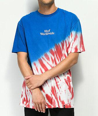 HUF Flag Tie Dye Tee Red, White & Blue T-Shirt - Size: XL