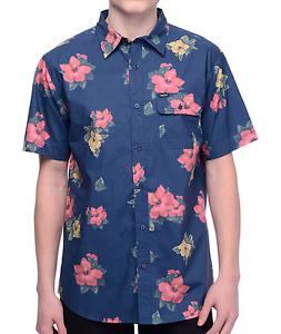 Chemise Matix Hawaiian Print Blue Woven Button Up Shirt