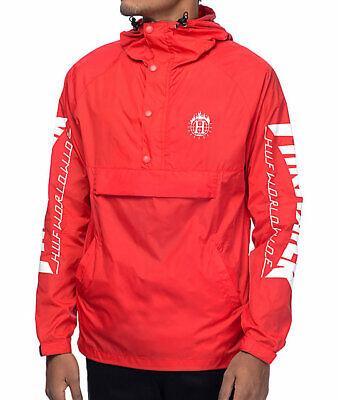 HUF x Thrasher Red Anorak Windbreaker Rain Jacket Size Small