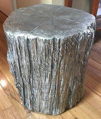 Tree Stump Side Table Metallic Silver 18H End Side Coastal Decor Furniture New