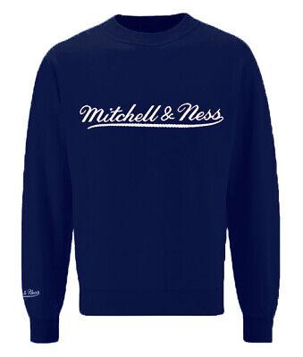Mitchell & Ness Script Logo Navy Crew Neck Sweatshirt Mens Pullover Jumper A39C