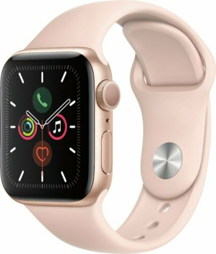 Apple Watch Series 5 40mm Aluminum Gold Case Pink Sand Sport Band - MWV72LL/A