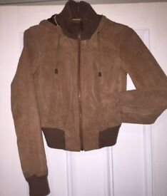 Genuine Suede Bomber Style Jacket Size 10 (Would Also Fit A Size 8).