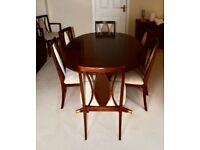 """G PLAN """"GARRICK"""" Mahogany Dining table 7 chairs(including carver) and display unit."""