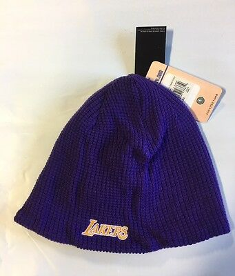 Reversible Waffle Knit Beanie (LA Lakers Knit Beanie Toque Skull Cap Winter Hat NBA ADIDAS Waffle)