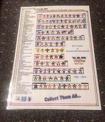** WWF HASBRO FIGURE'S COLOURED CHECKLIST POSTER. A3 SIZED **