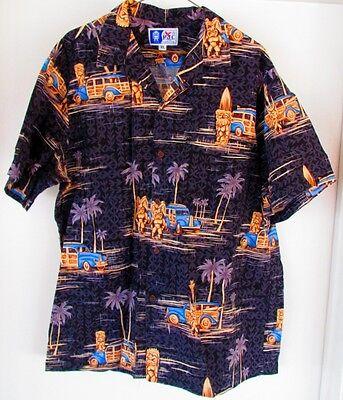 c425a2824 Vintage RJC Ltd. Hawaiian Shirt Made in Hawaii XL Black Tiki Surf Board  Woodie
