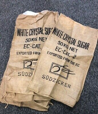 2 xVintage Old Hessian sugar Sacks with logos in good condition