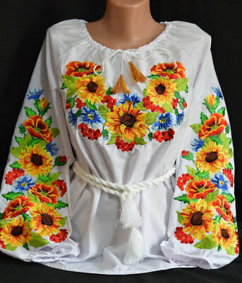 Ukrainian Embroidered Blouse for women. Sunflowers. Tradition shirt Size S-XXL for sale  Shipping to Canada