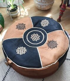 Beautiful Vintage style Handmade leather Moroccan Pouffe Boho Retro part stuffed