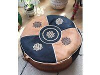 Beautiful Vintage style Handmade leather Moroccan Pouffe Boho Retro part stuffed