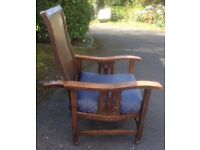 """Collector's unusual """"William Morris"""" /Victorian style antique reclining wooden chair adjustable back"""
