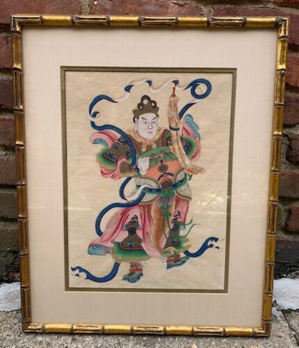 Asian Warrior Painting with Gold Faux Bamboo Frame