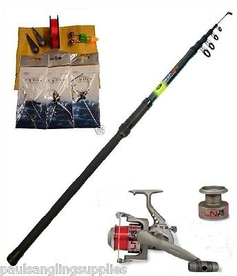 Sea Fishing Beach Pier Rock Starter Set / Kit Telescopic Rod Reel Tackle Rigs