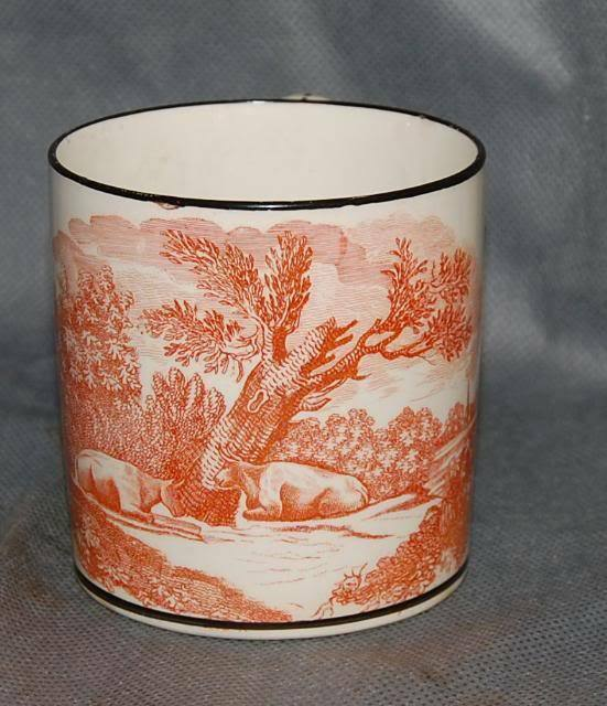 Antique English Creamware Orange Bat Printed Landscape Black Painted Mug