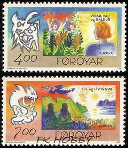 Denmark Faroe 1995 Mi 278-79 ** Union Europa Cept Cartons Fairy Legends - Dabrowa, Polska - Denmark Faroe 1995 Mi 278-79 ** Union Europa Cept Cartons Fairy Legends - Dabrowa, Polska