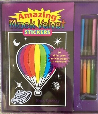 NEW  Velvet Art Kit - Black Velvet Stickers - 103 stickers to color + activity -