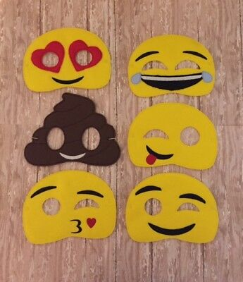 Emoji Children's Felt Masks 6 to Choose From ! Great for Dress up or Halloween