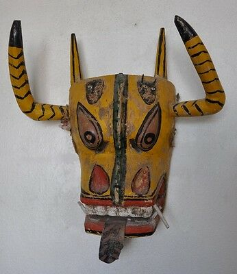 Yellow Bull Devil Vintage Mexican Dance Mask from Guerrero