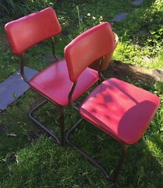 Vintage Industrial Original Stak-A-Bye Chairs 1950s with Padded Seats