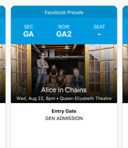 Alice in Chains General Admission Tickets