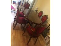 Excellent Condition Stylish Wooden Dining Table and 6 Chairs
