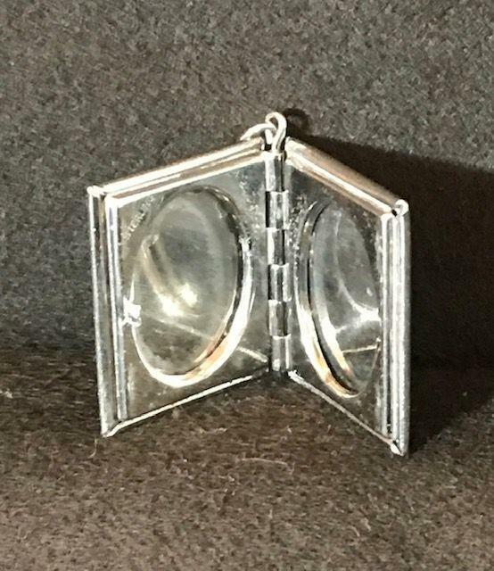 Vintage Sterling Book Style 2 Picture Locket Charm Fob 6.8 g