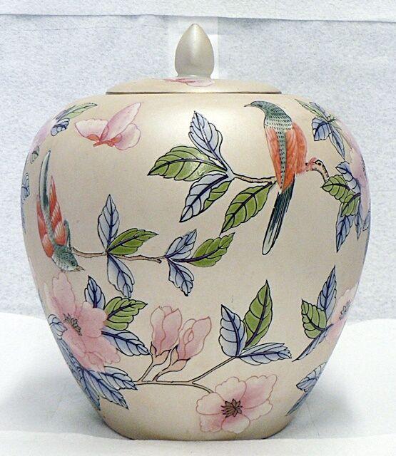 Vintage Chinese Ceramic Vase Jar With Lid Flowers Birds Design