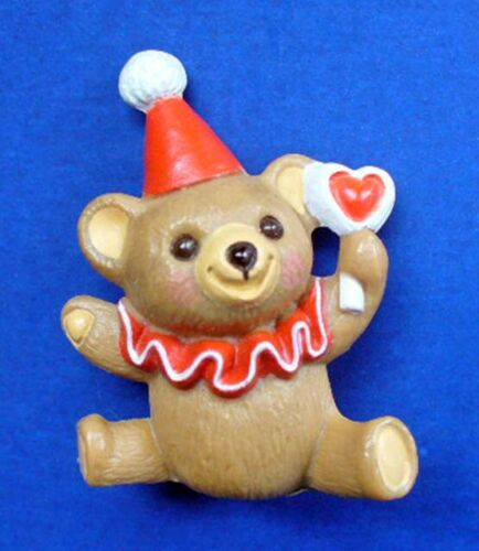 Hallmark MERRY MINIATURES Valentines Vintage CLOWN BEAR Heart 1987 Mini Figurine