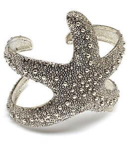 Ladies-2-5-034-Inch-Starfish-Silver-Textured-Bracelet-Women-Wide-Cuff