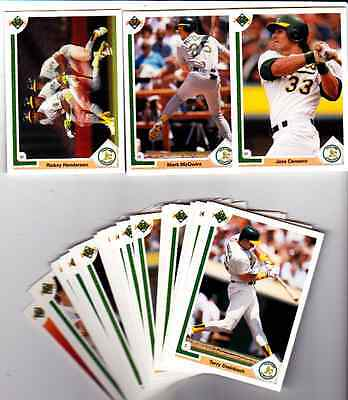 1991 UPPER DECK BASEBALL OAKLAND A'S (24) CARD TEAM SET W/ MCGWIRE/CANSECO/HENDU ()
